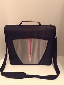 Case it Zipper Binder 3 Rings Built in 5 tab File Shoulder Strap Black Gray