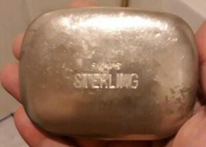 Vintage S M S Sterling Advertising Trinket Box Not Sterling Silver Read Desc