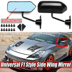 F1 Style Car Racing Side Wing Mirrors Convex Glass For Honda Toyota Mazda Black