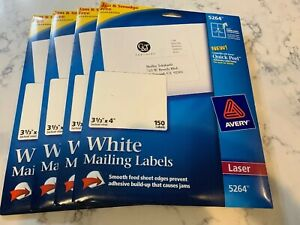 Avery Shipping 5264 Labels Laser 3 1 3 X 4 150 pack Lot Of Four Packs 600
