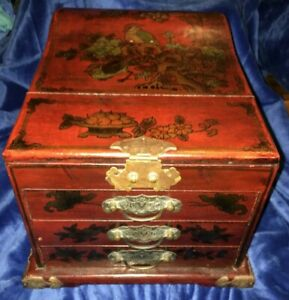 Vintage Chinese 3 Drawer Red Wood Top Mirror Dressing Travel Jewelry Box Chest