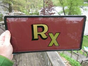Antique Early 1900 S Reverse Painted Glass Rx Pharmacy Sign With Bevel Edges