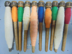 Lot 1 10 Anti Vint Textile Mill Sewing Spindles Bobbins Spools With Thread
