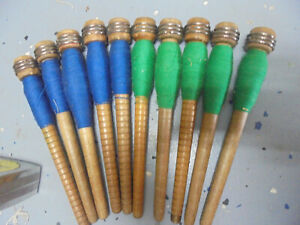 Lot 2 10 Anti Vint Textile Mill Sewing Spindles Bobbins Spools With Thread
