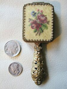 Antique Victorian Gold Filigree Chatelaine French Petit Point Mirror Compact