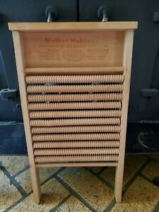 Vintage Mother Hubbard Wooden Roller Washboard Made In U S A 1900 S Nice