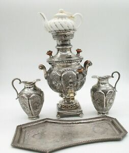 Antique Iranian Sterling Silver Samovar Ceramic Tea Pot 2 Sterling Jugs Tray Set