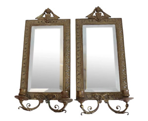 Rustic Pair Tiffany Co Makers Gilt Bronze Wall Mirrors Late 19th Century