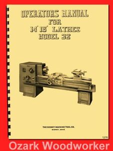 Sidney 14 16 Model 32 Dial master Metal Lathes Operator s Parts Manual 1276