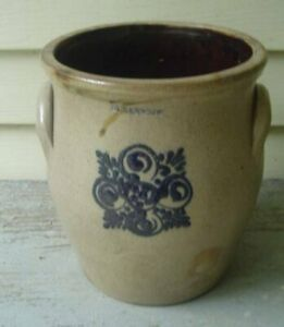 Antique Albany N Y Blue Decorated Stoneware 1 Gall Ovoid Crock 16608