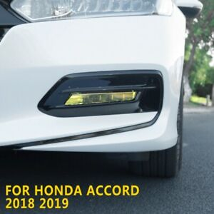 2pcs Yellow Front Fog Light Lamp Cover Sticker Fit For Honda Accord 2018 2019 Us