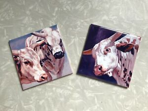 Rodeo Western Bulls Ceramic Tiles Wall Kitchen Bath Home Decor Tile Art