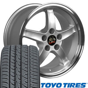 17x9 17x10 5 Silver Cobra R Style Wheels Tires Rims Fit Mustang 94 04 Oew