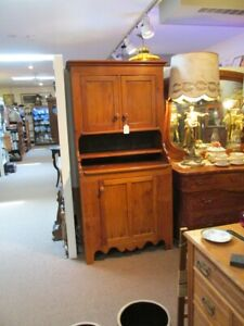 S3 Antique Pine Step Back 1 Piece Pantry Cupboard Three Door Shelf Cut Out Base
