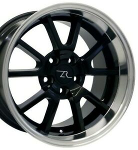 17 Black W Mirror Lip 94 04 Mustang Fr500 Wheels Staggered 17x9 17x10 5 5x114 3