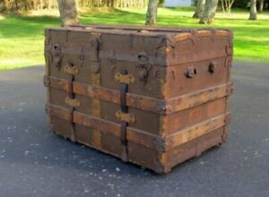 Antique Rustic Flat Top Wood Canvas Studded Leather Steamer Trunk 30