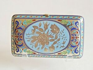 Fine Antique Russian Silver Champleve Enamel Cigarette Case Grachev Br