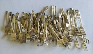 Mixed Lot Of 120 Vintage Antique Silverplate Forks Crafts Resale Use