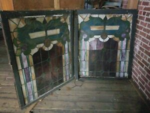 Pair Of Leaded Stain Glass Windows From Local Church Frame Needs Repair