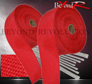 360 30ft Heat Wrap Shield Insulation Reduction Down Header Test Pipe Kit Red
