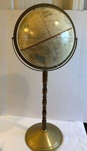 Vintage Cram S Imperial World Globe 33 Tall Wood Stand W Metal Base Floor Model