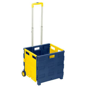 Lightweight Folding Rolling Utility Cart 75 Lb Capacity W Extendable Handle