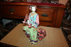 Chinese Asian Porcelain Pottery Figure Colorful Woman Seated Flowers Signed