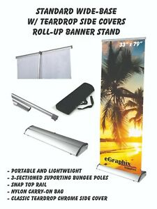 Standard Wide base Roll Up Banner Stand display 33 X 79 W Free Shipping
