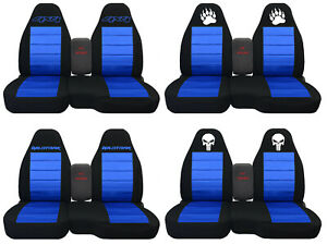 Fit Ford Ranger truck Car Seat Covers 60 40 console Not Included Blk med Blue