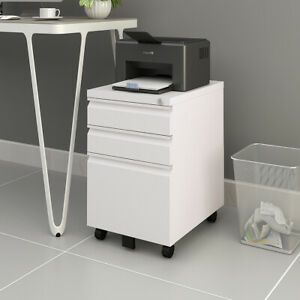 Devaise 3 Drawer Metal File Cabinet With Lock Filing Storage Office Furniture