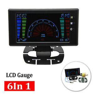 Multipurpose Lcd Digital 6 In1 Auto Meter Led Oil Pressure Gauge Car Accessories