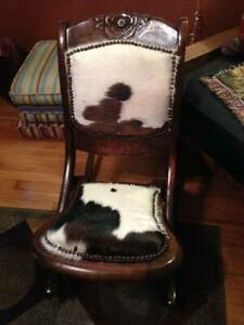 Antique Folding Sewing Chair Hair On Cowhide