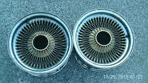 Set Of 2 Gold Dayton Rims 100 Spoke With Chrome Heads 2 Adapters 14 Inch