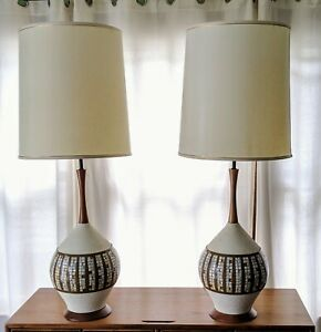 A Pair Of Mid Century Large Lamps
