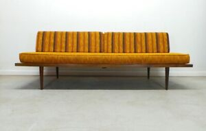 Mid Century Modern Orange Tweed And Striped Reversible Daybed Sofa