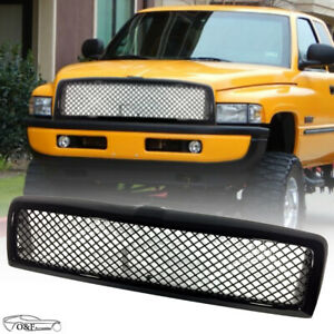 For 1994 2002 Dodge Ram 1500 Front Grille Gloss Black Mesh Hood Bumper Grill