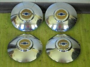 49 50 Chevrolet Dog Dish Hub Caps Set Of 4 Chevy Hubcaps 1949 1950