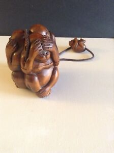 Very Fine Hand Carved Japanese Rosewood See Hear Say No Evil Monkey Inro