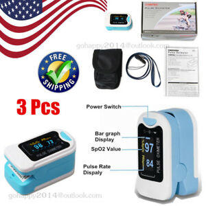 3pcs Finger Pulse Oximeter Blood Oxygen Meter Spo2 Heart Rate Monitor Us Seller