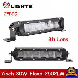 2x 7inch 30w Led Single Row Light Bar Slim Flood Offroad Boat 4wd For Jeep Ford