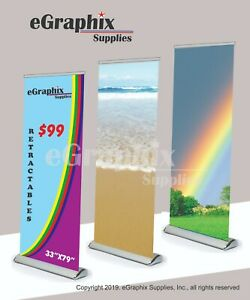 Color Custom Print Banner In A Deluxe Retractable Roll Up Stand 33 X 79