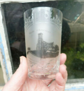 Antique 1890 1900 French Etched Blown Grisaille Acid Decor Tumblers Church