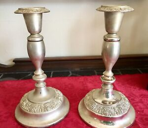 Vintage Pair 7 Silver Plated Candleholders