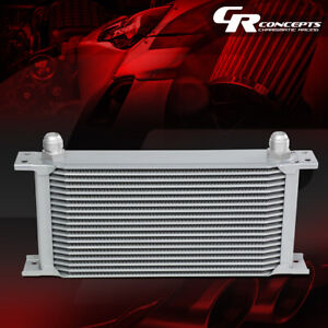19 row 10an Full Aluminum Universal Engine transmission Racing Oil Cooler Silver