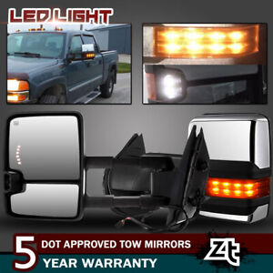For Gmc Yukon Xl Denali 2007 13 Tow Mirrors Chrome Power Heated Led Amber Signal