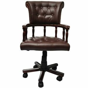 Brown Real Leather Chesterfield Captains Swivel Office Chair K8g3