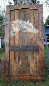 200 Yr Old Heart Pine Reclaimed Barnwood Barn Door W New Roller Hardware