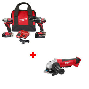 Milwaukee 2893 22cx M18 Hammerdrill impact Kit With Free Cut off grinder Tool