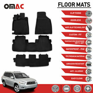 Floor Mats Liner 3d Molded Black Set Fits Toyota Highlander 2008 2013