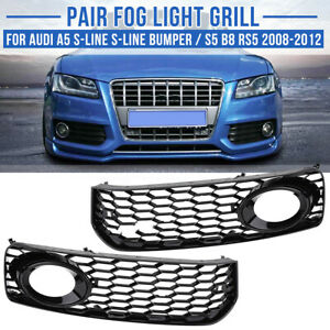 Honeycomb Front Fog Light Grill Trim For Audi A5 S Line Bumper S5 B8 Rs5 2008 12